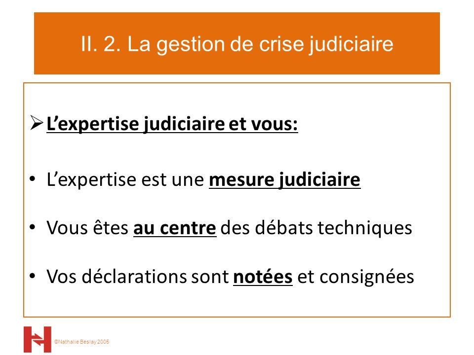 ©Nathalie Beslay 2005 II. 2. La gestion de crise judiciaire Lexpertise judiciaire et vous: Lexpertise est une mesure judiciaire Vous êtes au centre de