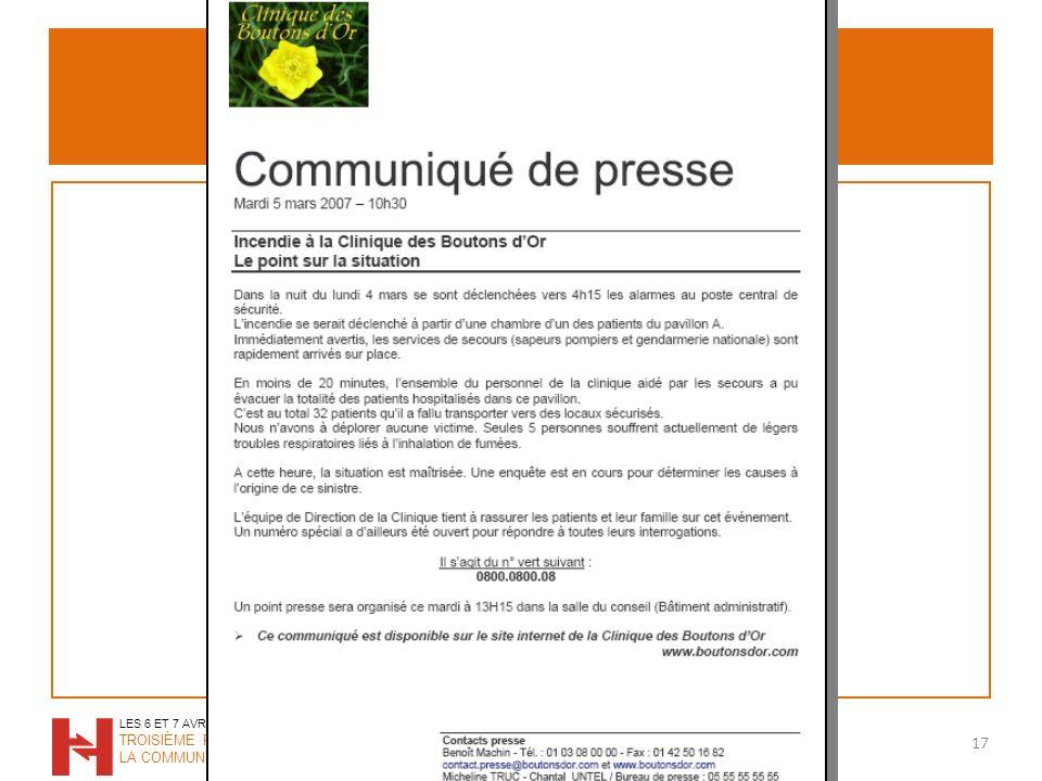 Communiqué de presse 17 LES 6 ET 7 AVRIL 2009 TROISIÈME RENCONTRES DE LA COMMUNICATION HOSPITALIÈRE