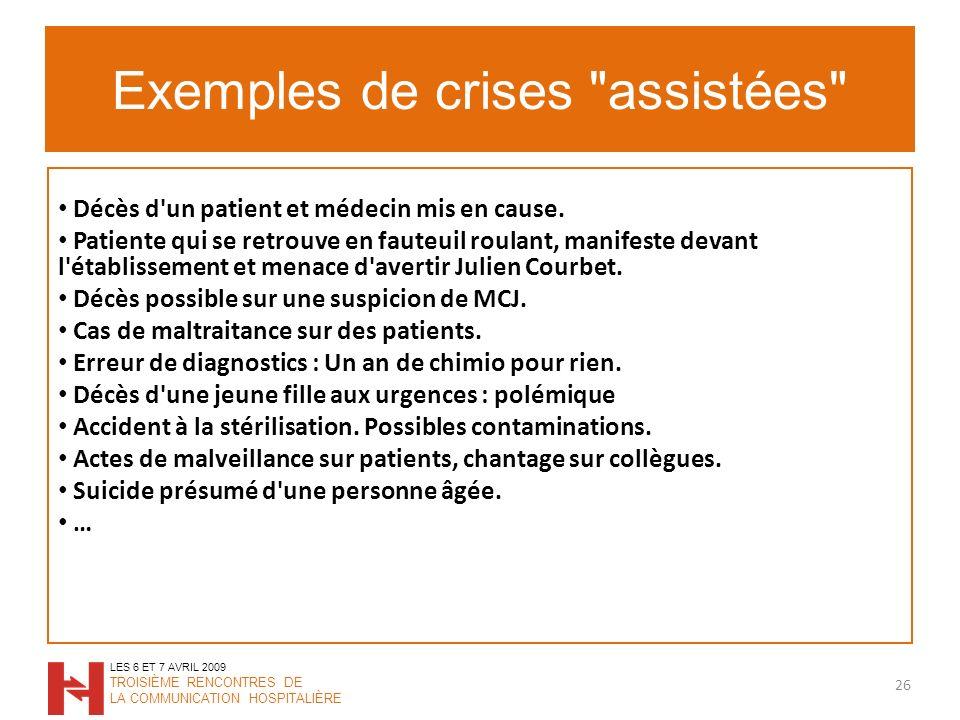 Exemples de crises assistées 26 LES 6 ET 7 AVRIL 2009 TROISIÈME RENCONTRES DE LA COMMUNICATION HOSPITALIÈRE Décès d un patient et médecin mis en cause.