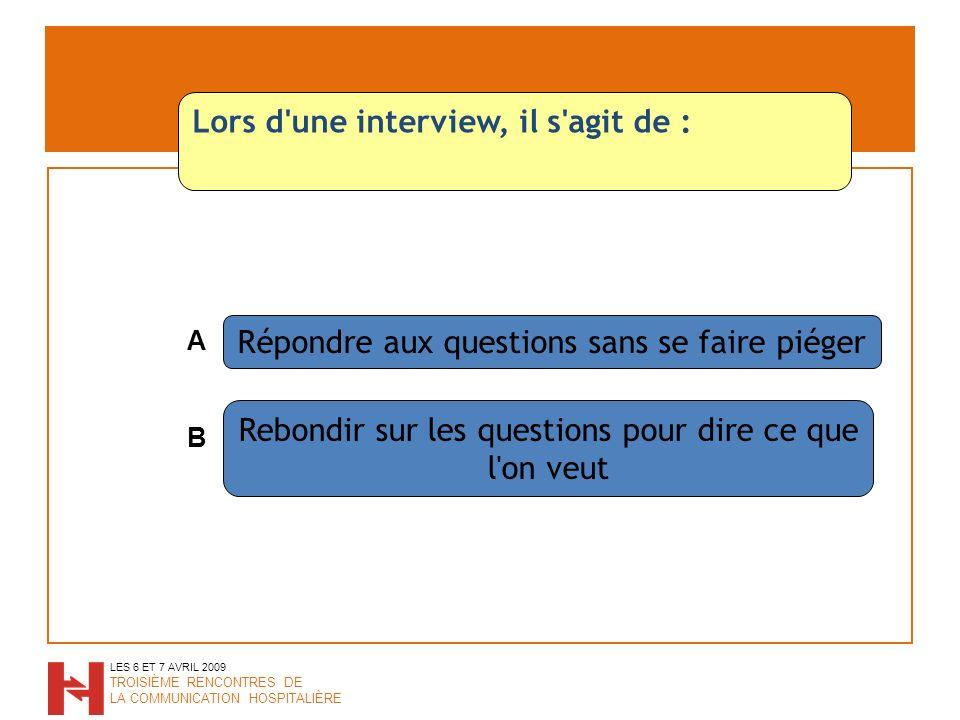 Répondre aux questions sans se faire piéger Rebondir sur les questions pour dire ce que l on veut LES 6 ET 7 AVRIL 2009 TROISIÈME RENCONTRES DE LA COMMUNICATION HOSPITALIÈRE Lors d une interview, il s agit de : A B