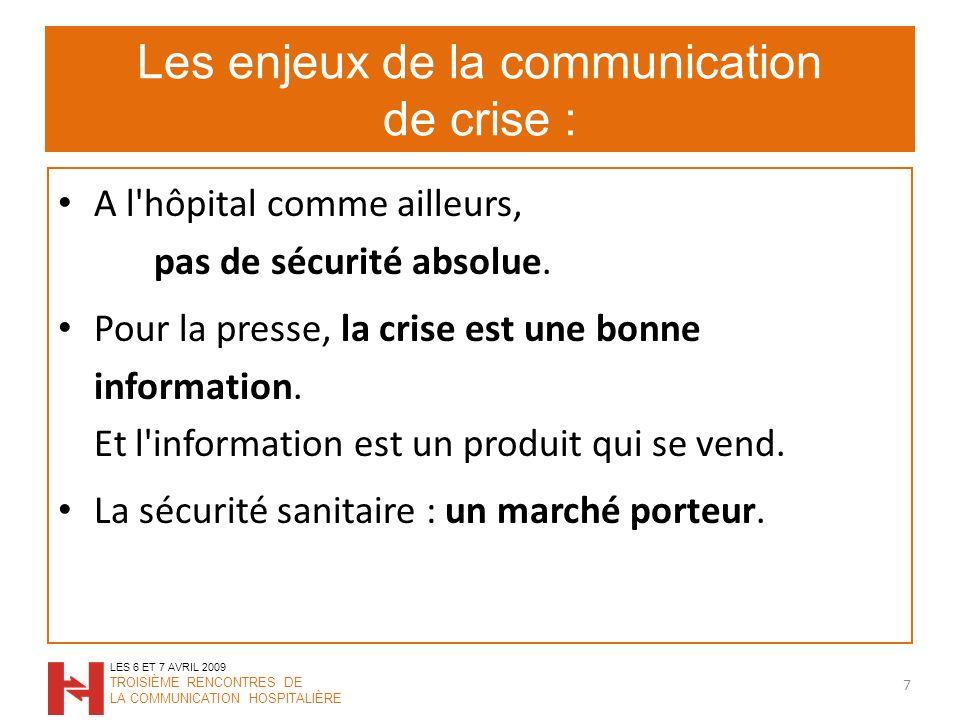 Les enjeux de la communication de crise : A l hôpital comme ailleurs, pas de sécurité absolue.