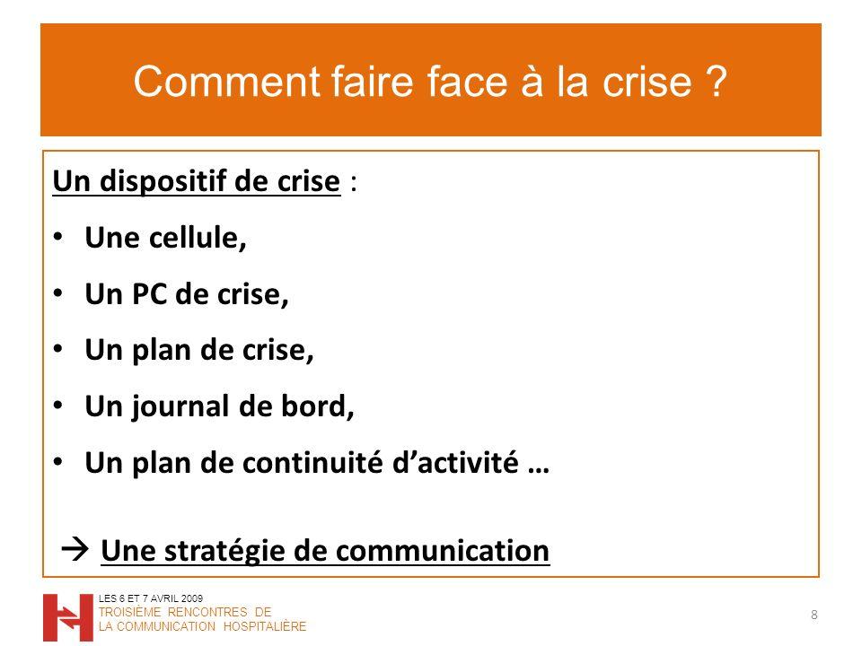 La communication autour de la crise Quelle va être la stratégie de communication .