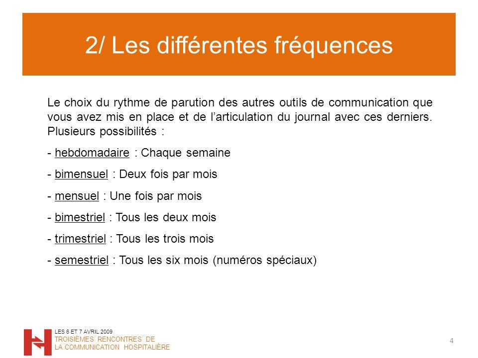 2/ Les différentes fréquences 4 LES 6 ET 7 AVRIL 2009 TROISIÈMES RENCONTRES DE LA COMMUNICATION HOSPITALIÈRE Le choix du rythme de parution des autres