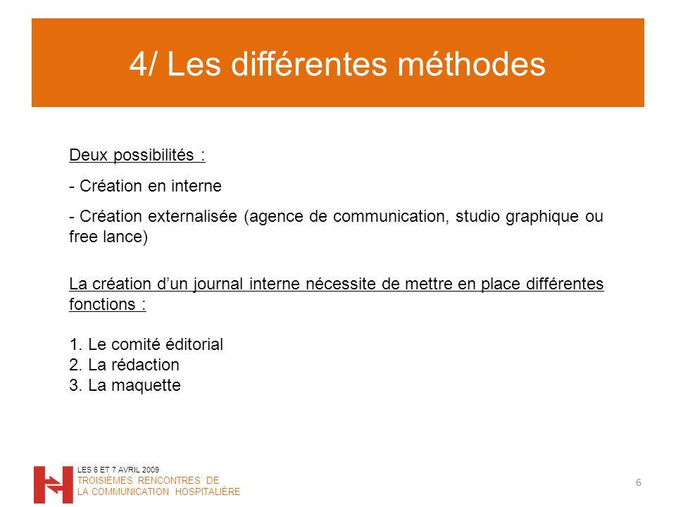4/ Les différentes méthodes 6 LES 6 ET 7 AVRIL 2009 TROISIÈMES RENCONTRES DE LA COMMUNICATION HOSPITALIÈRE Deux possibilités : - Création en interne -
