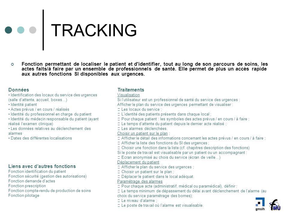 TRACKING Fonction permettant de localiser le patient et d'identifier, tout au long de son parcours de soins, les actes faits/à faire par un ensemble d