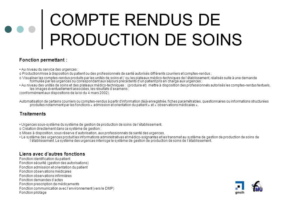 COMPTE RENDUS DE PRODUCTION DE SOINS Fonction permettant : Au niveau du service des urgences : o Production/mise à disposition du patient ou des profe