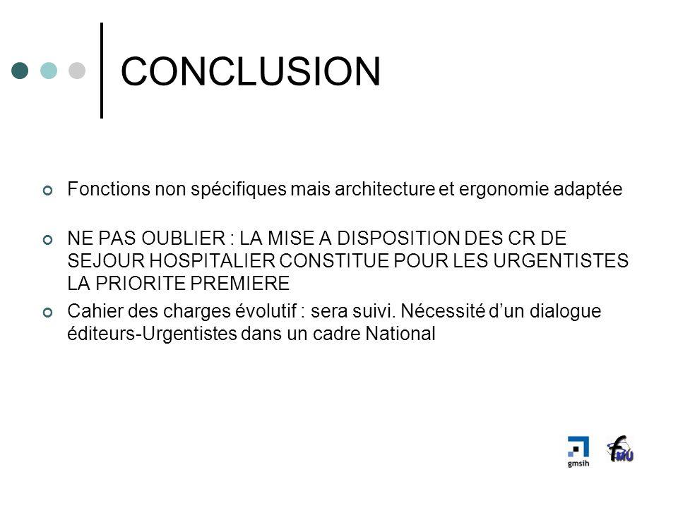 CONCLUSION Fonctions non spécifiques mais architecture et ergonomie adaptée NE PAS OUBLIER : LA MISE A DISPOSITION DES CR DE SEJOUR HOSPITALIER CONSTI