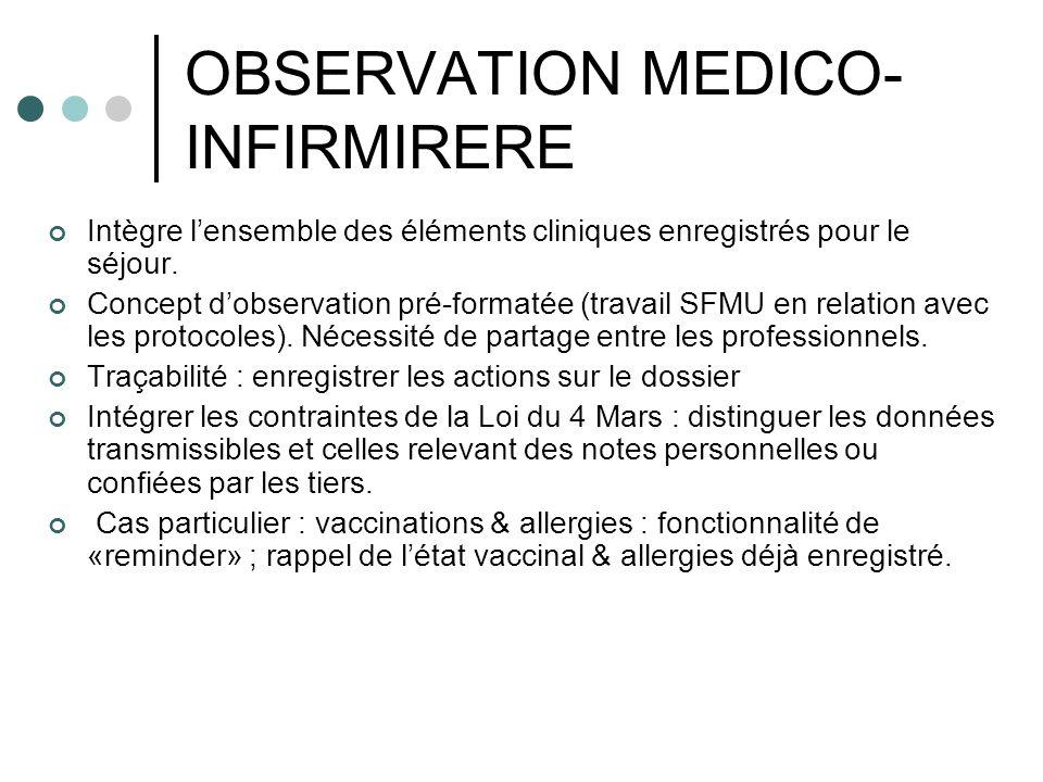OBSERVATION MEDICO- INFIRMIRERE Intègre lensemble des éléments cliniques enregistrés pour le séjour. Concept dobservation pré-formatée (travail SFMU e