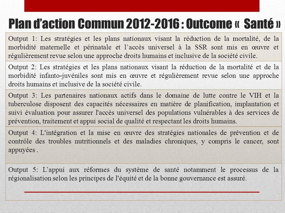 Plan daction Commun 2012-2016 : Outcome « Santé » Output 1: Les stratégies et les plans nationaux visant la réduction de la mortalité, de la morbidité maternelle et périnatale et laccès universel à la SSR sont mis en œuvre et régulièrement revue selon une approche droits humains et inclusive de la société civile.