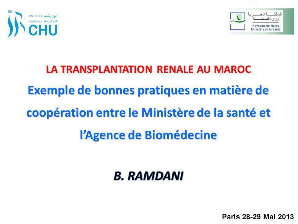 Action globale de lABM : Appui au MS pour les aspects réglementaires, organisationnels et financiers (DHSA, DRC) Appui aux directions des CHU pour lélaboration des projets médicaux Greffe (travail avec les Comités de greffe) Formation du personnel médical et paramédical des 4 CHU (équipes de prélèvement et de greffe,et services supports) Formation des épidémiologistes dans les Observatoires Régionaux de Santé (Magredial) Travail avec la Société Marocaine de Néphrologie pour la mobilisation des néphrologues (Magredial) Gestion logistique et financière du projet Période : 2008 – 2013 Mise en place et activation de lAPCIRCUM