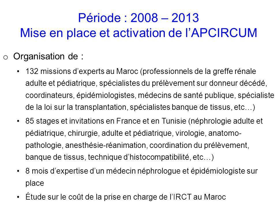 o Organisation de : 132 missions dexperts au Maroc (professionnels de la greffe rénale adulte et pédiatrique, spécialistes du prélèvement sur donneur