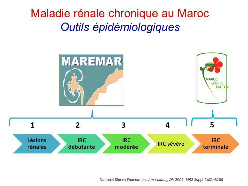 Maladie rénale chronique au Maroc Outils épidémiologiques National Kidney Foundation. Am J Kidney Dis 2002; 39(2 Suppl 1):S1–S266 Lésions rénales IRC