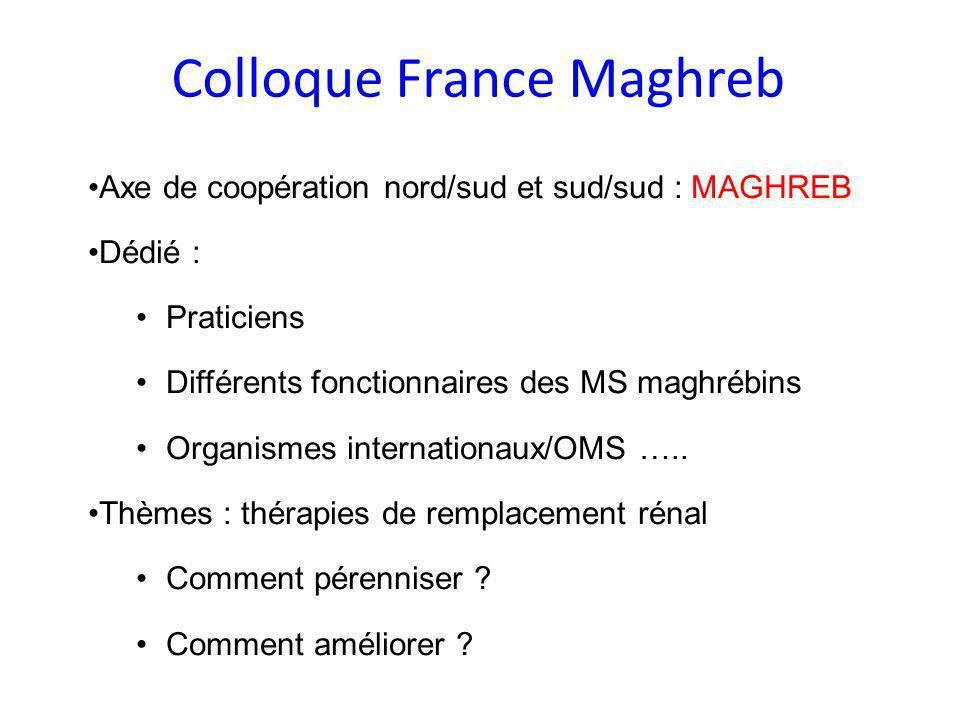 Colloque France Maghreb Axe de coopération nord/sud et sud/sud : MAGHREB Dédié : Praticiens Différents fonctionnaires des MS maghrébins Organismes int