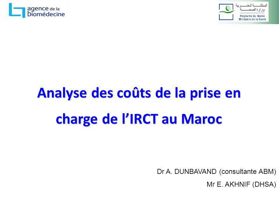 Analyse des coûts de la prise en charge de lIRCT au Maroc Dr A. DUNBAVAND (consultante ABM) Mr E. AKHNIF (DHSA)