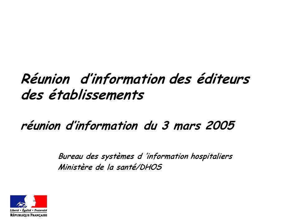 Réunion dinformation des éditeurs des établissements réunion dinformation du 3 mars 2005 Bureau des systèmes d information hospitaliers Ministère de l