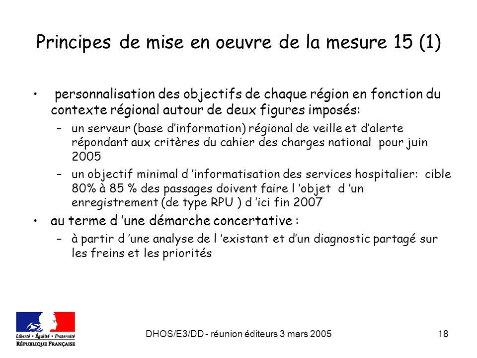 DHOS/E3/DD - réunion éditeurs 3 mars 200518 Principes de mise en oeuvre de la mesure 15 (1) personnalisation des objectifs de chaque région en fonctio