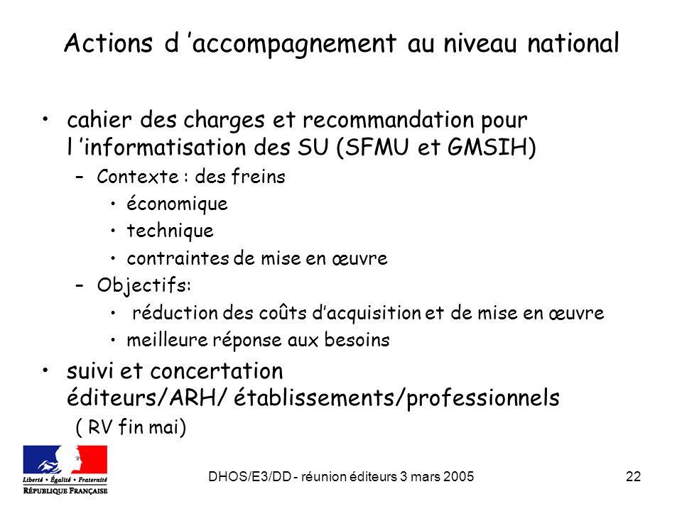 DHOS/E3/DD - réunion éditeurs 3 mars 200522 Actions d accompagnement au niveau national cahier des charges et recommandation pour l informatisation de