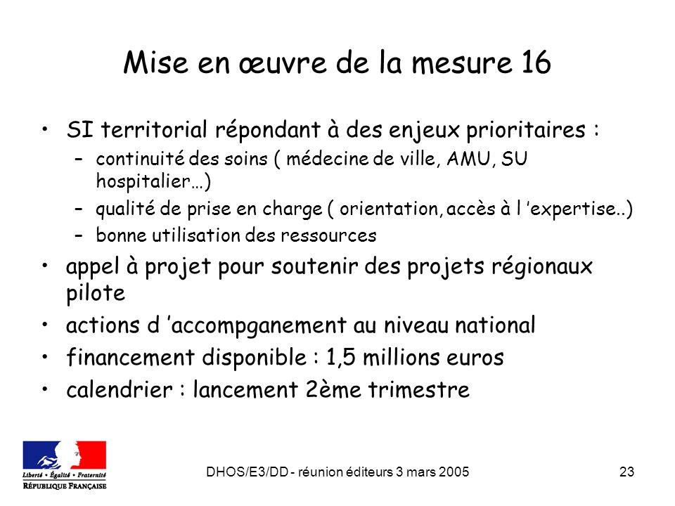 DHOS/E3/DD - réunion éditeurs 3 mars 200523 Mise en œuvre de la mesure 16 SI territorial répondant à des enjeux prioritaires : –continuité des soins (