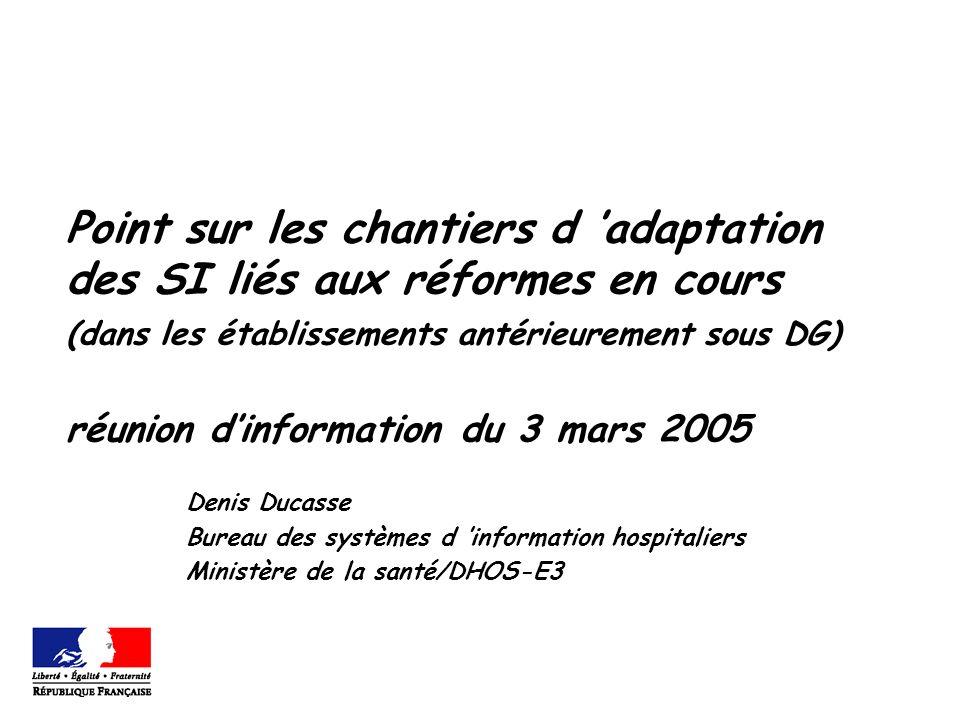 Point sur les chantiers d adaptation des SI liés aux réformes en cours (dans les établissements antérieurement sous DG) réunion dinformation du 3 mars 2005 Denis Ducasse Bureau des systèmes d information hospitaliers Ministère de la santé/DHOS-E3