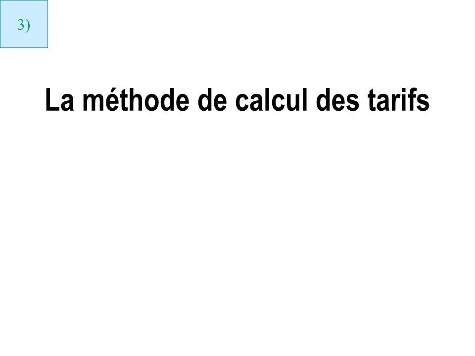La méthode de calcul des tarifs 3)