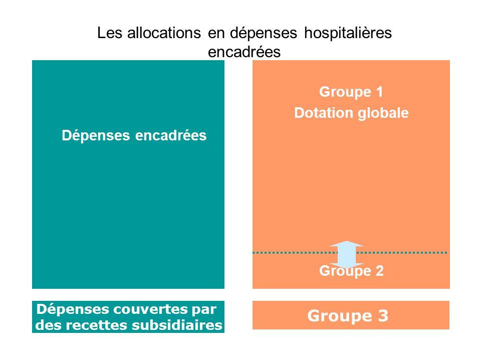 Dépenses encadrées Groupe 1 Dotation globale Groupe 2 Dépenses couvertes par des recettes subsidiaires Groupe 3 Les allocations en dépenses hospitaliè