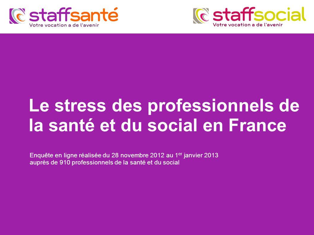 Le stress des professionnels de la santé et du social en France Enquête en ligne réalisée du 28 novembre 2012 au 1 er janvier 2013 auprès de 910 profe