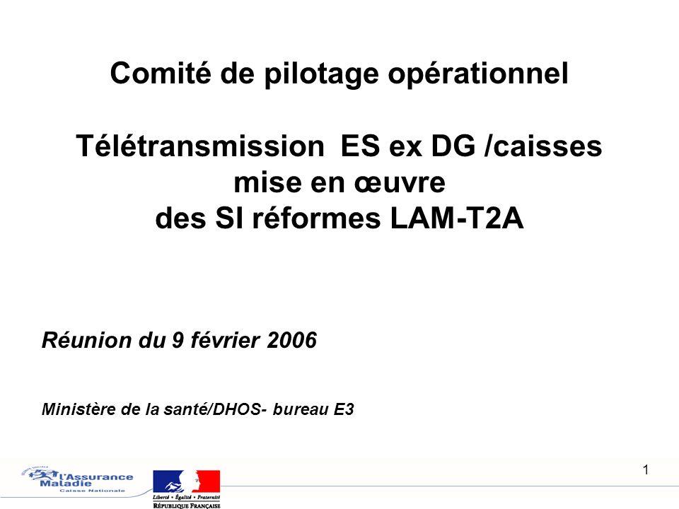 1 Réunion du 9 février 2006 Ministère de la santé/DHOS- bureau E3 Comité de pilotage opérationnel Télétransmission ES ex DG /caisses mise en œuvre des