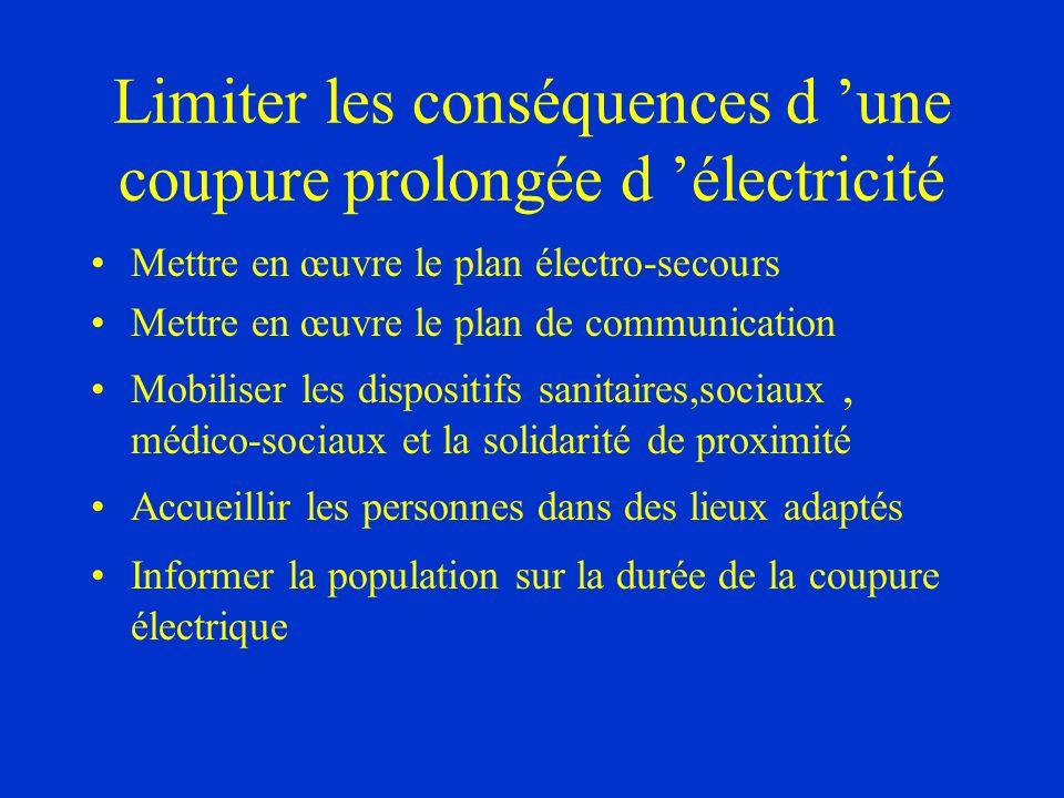 Limiter les conséquences d une coupure prolongée d électricité Mettre en œuvre le plan électro-secours Mettre en œuvre le plan de communication Mobili