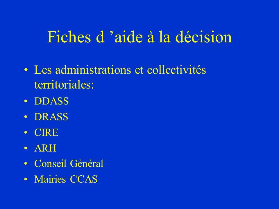 Fiches d aide à la décision Les administrations et collectivités territoriales: DDASS DRASS CIRE ARH Conseil Général Mairies CCAS