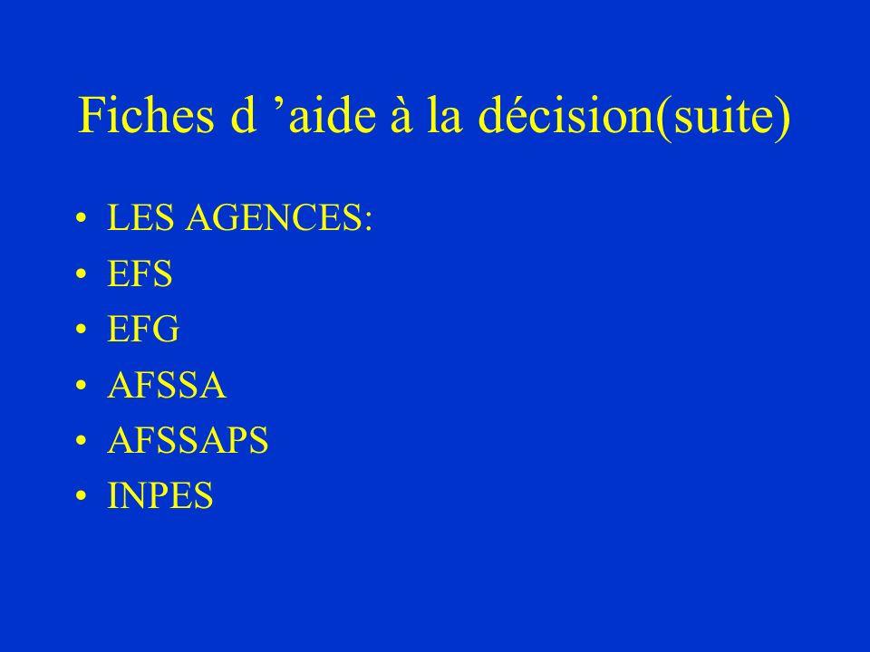 Fiches d aide à la décision(suite) LES AGENCES: EFS EFG AFSSA AFSSAPS INPES