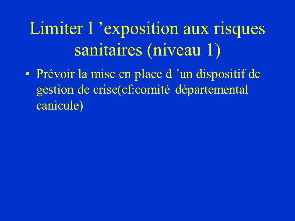 Limiter l exposition aux risques sanitaires (niveau 1) Prévoir la mise en place d un dispositif de gestion de crise(cf:comité départemental canicule)