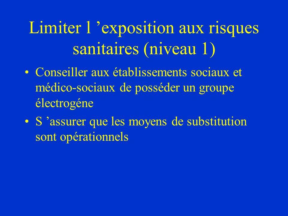 Limiter l exposition aux risques sanitaires (niveau 1) Conseiller aux établissements sociaux et médico-sociaux de posséder un groupe électrogéne S ass