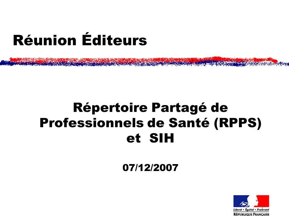 1 Réunion Éditeurs Répertoire Partagé de Professionnels de Santé (RPPS) et SIH 07/12/2007