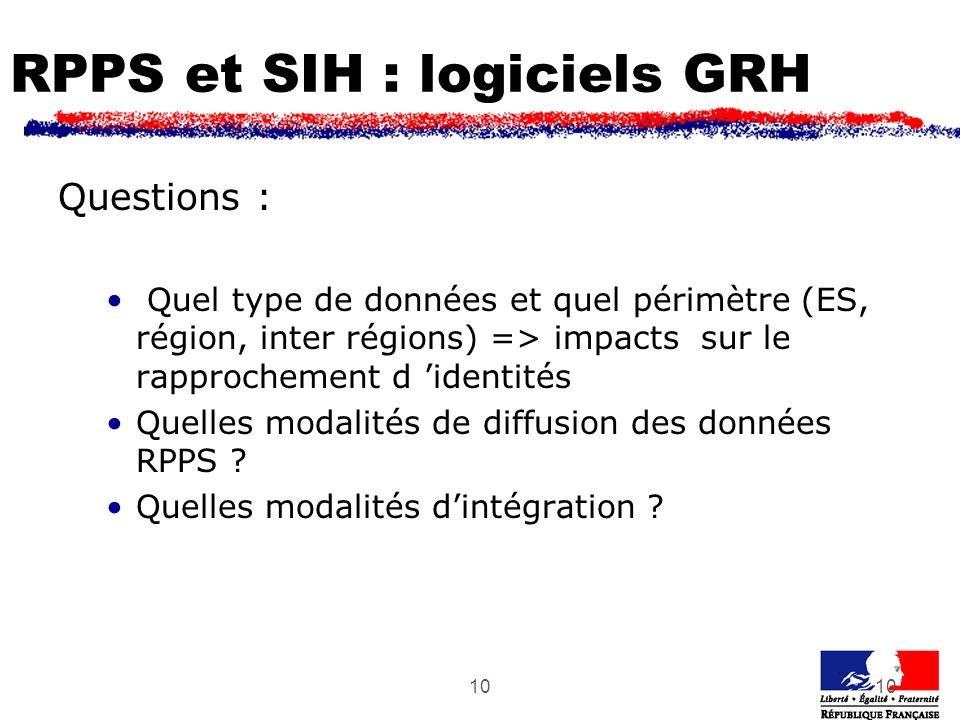 10 RPPS et SIH : logiciels GRH Questions : Quel type de données et quel périmètre (ES, région, inter régions) => impacts sur le rapprochement d identités Quelles modalités de diffusion des données RPPS .