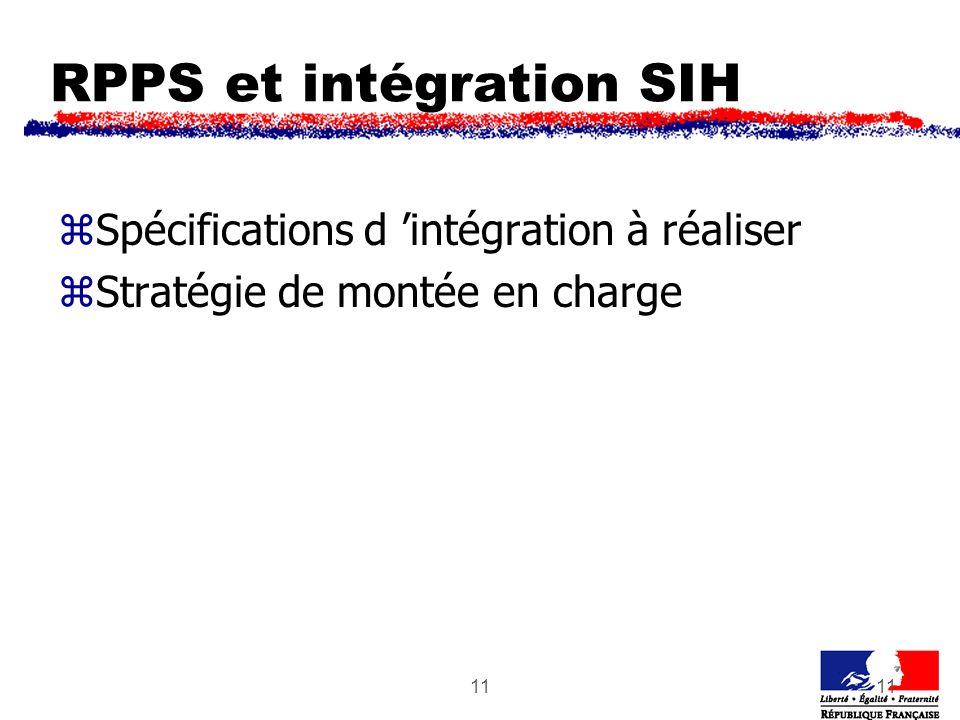 11 RPPS et intégration SIH zSpécifications d intégration à réaliser zStratégie de montée en charge