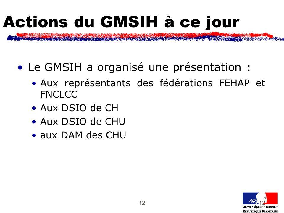 12 Actions du GMSIH à ce jour Le GMSIH a organisé une présentation : Aux représentants des fédérations FEHAP et FNCLCC Aux DSIO de CH Aux DSIO de CHU aux DAM des CHU