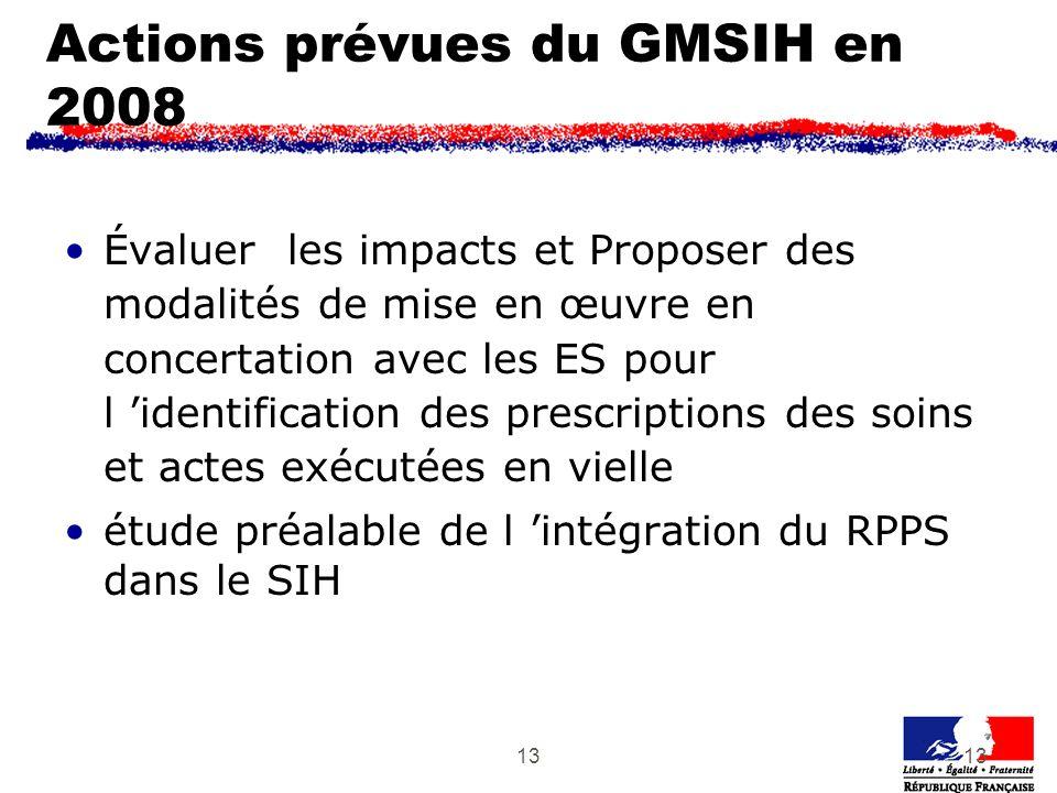 13 Actions prévues du GMSIH en 2008 Évaluer les impacts et Proposer des modalités de mise en œuvre en concertation avec les ES pour l identification des prescriptions des soins et actes exécutées en vielle étude préalable de l intégration du RPPS dans le SIH