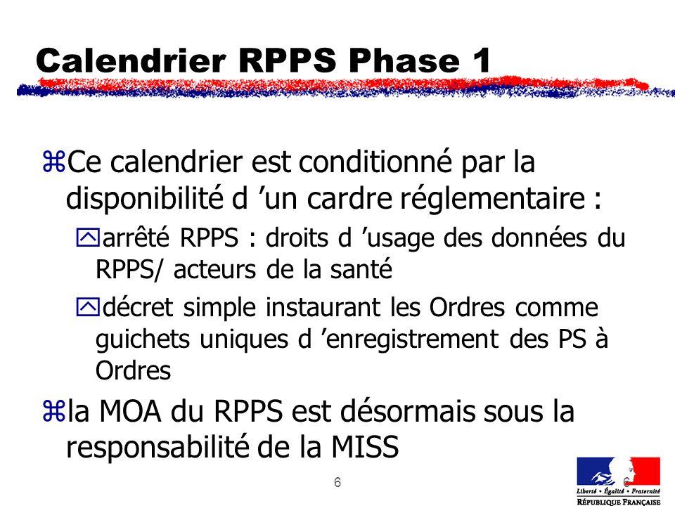 66 Calendrier RPPS Phase 1 zCe calendrier est conditionné par la disponibilité d un cardre réglementaire : yarrêté RPPS : droits d usage des données d