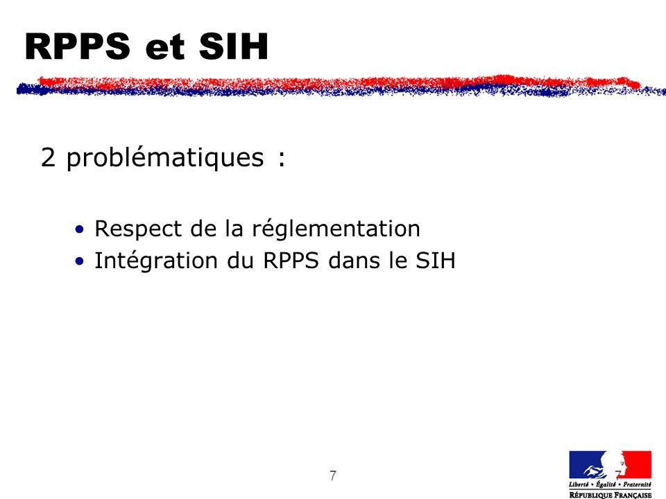77 RPPS et SIH 2 problématiques : Respect de la réglementation Intégration du RPPS dans le SIH