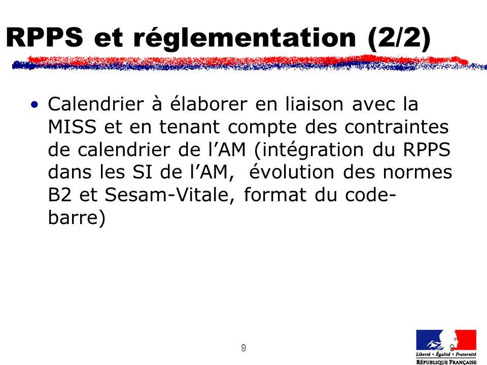 99 RPPS et réglementation (2/2) Calendrier à élaborer en liaison avec la MISS et en tenant compte des contraintes de calendrier de lAM (intégration du RPPS dans les SI de lAM, évolution des normes B2 et Sesam-Vitale, format du code- barre)