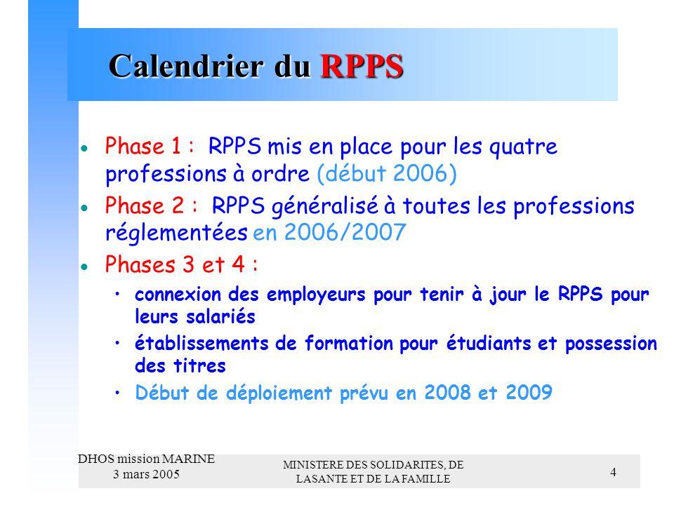 MINISTERE DES SOLIDARITES, DE LASANTE ET DE LA FAMILLE DHOS mission MARINE 3 mars 2005 4 Calendrier du RPPS Calendrier du RPPS Phase 1 : RPPS mis en place pour les quatre professions à ordre (début 2006) Phase 2 : RPPS généralisé à toutes les professions réglementées en 2006/2007 Phases 3 et 4 : connexion des employeurs pour tenir à jour le RPPS pour leurs salariés établissements de formation pour étudiants et possession des titres Début de déploiement prévu en 2008 et 2009