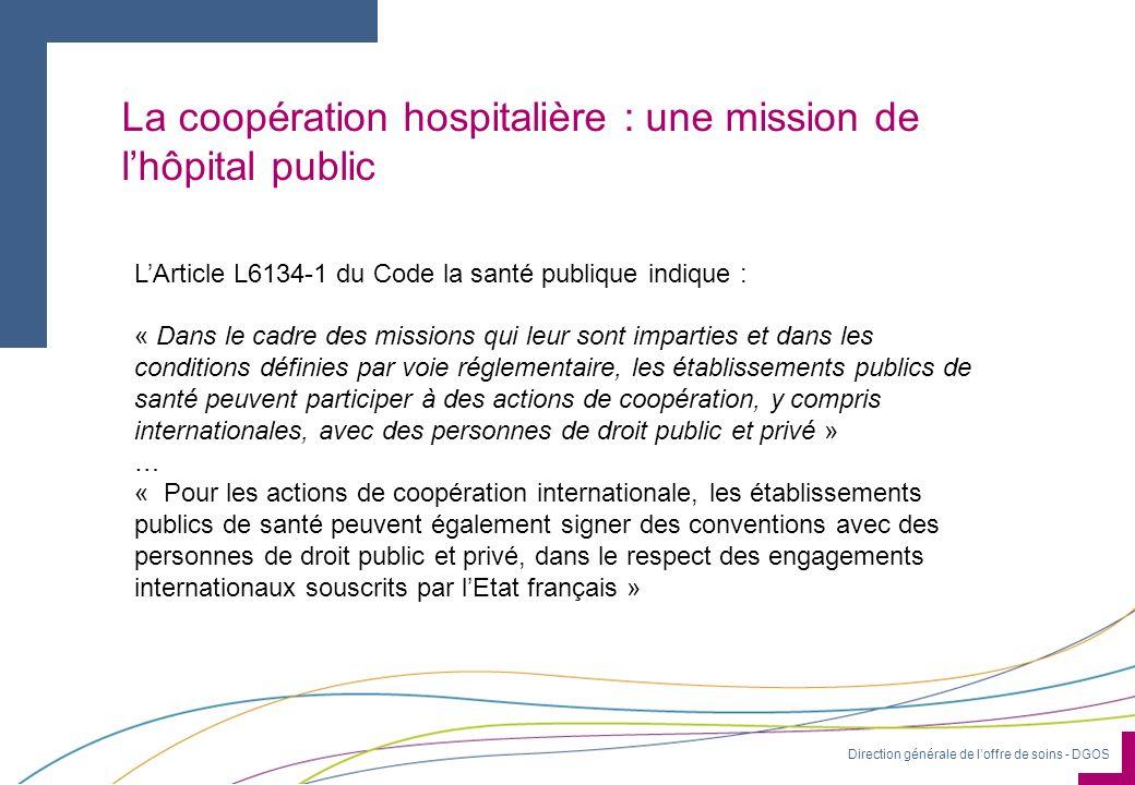 Direction générale de loffre de soins - DGOS Une MIGAC dédiée : « Les actions de coopération internationale » Depuis 2008, et suite au rapport de Patrick Mordelet, une MIGAC spécifique recense les actions internationales des hôpitaux au travers de loutil ARBUST.