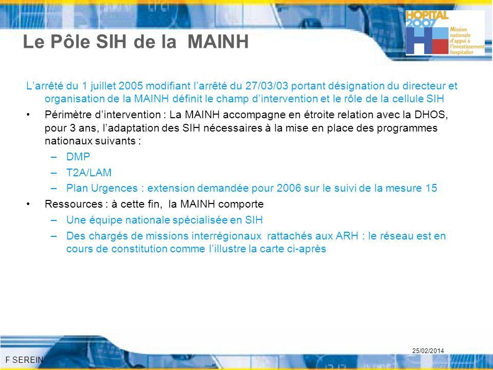 F SEREIN 25/02/2014 Le Pôle SIH de la MAINH Larrêté du 1 juillet 2005 modifiant larrêté du 27/03/03 portant désignation du directeur et organisation d