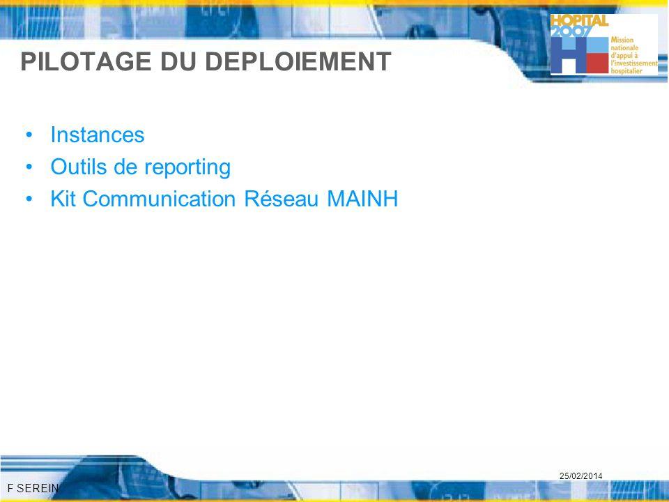 F SEREIN 25/02/2014 PILOTAGE DU DEPLOIEMENT Instances Outils de reporting Kit Communication Réseau MAINH