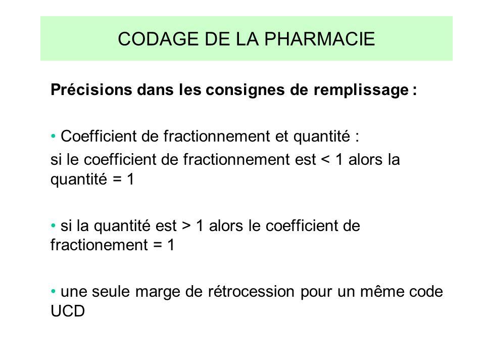 CODAGE DE LA PHARMACIE Précisions dans les consignes de remplissage : Coefficient de fractionnement et quantité : si le coefficient de fractionnement