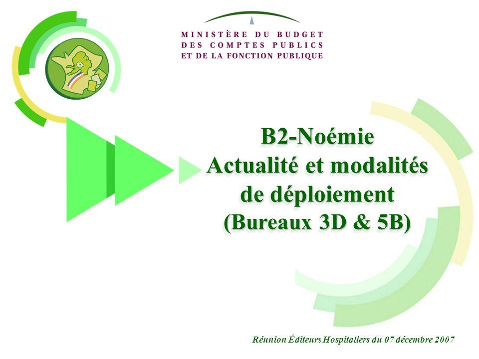 B2-NOEMIE nouvelle architecture déchanges 1 B2-Noémie Actualité et modalités de déploiement (Bureaux 3D & 5B) Réunion Éditeurs Hospitaliers du 07 déce