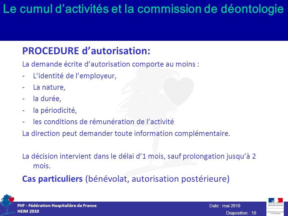 Date : mai 2010 FHF - Fédération Hospitalière de France HEIM 2010 Diapositive : 10 Le cumul dactivités et la commission de déontologie PROCEDURE dauto