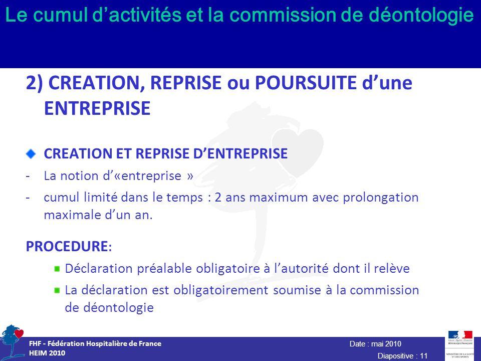 Date : mai 2010 FHF - Fédération Hospitalière de France HEIM 2010 Diapositive : 11 Le cumul dactivités et la commission de déontologie 2) CREATION, RE