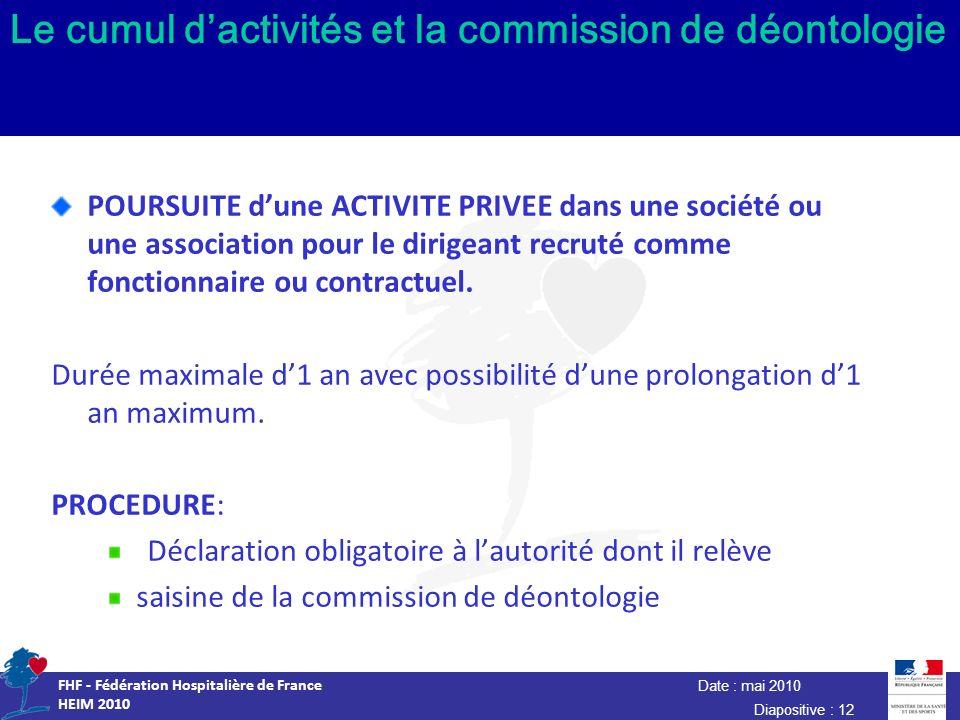 Date : mai 2010 FHF - Fédération Hospitalière de France HEIM 2010 Diapositive : 12 Le cumul dactivités et la commission de déontologie POURSUITE dune