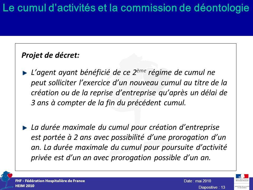 Date : mai 2010 FHF - Fédération Hospitalière de France HEIM 2010 Diapositive : 13 Le cumul dactivités et la commission de déontologie Projet de décre